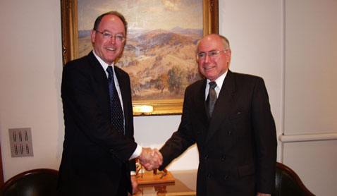 Meeting John Howard, then Prime Minister of Australia, in Canberra